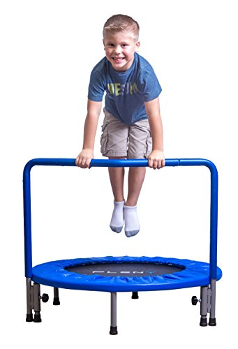 PLENY 36-Inch Boys Indoor Trampoline with Handle, Safe Trampoline for Kids (Navy Blue)