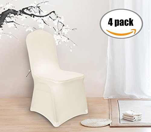Deconovo Set of 4pcs Chair Covers Cream Chair Covers Spandex Folding Dining Room Chair Covers Set of 4 (Slipcover Chair Folding)