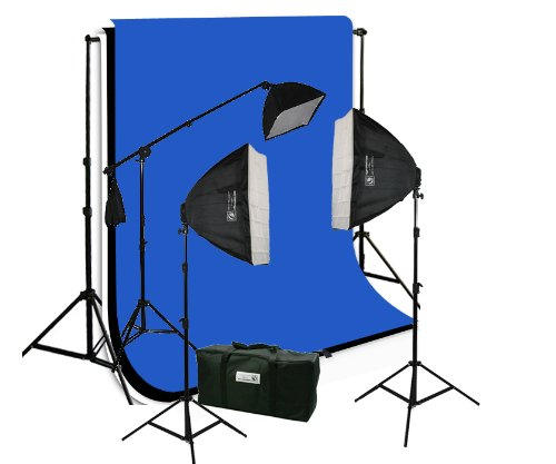 ePhotoInc 3pcs 6 x 9 Black, White and Blue Backdrop Set, Background Support Kit, 2400 watt Photo Video Studio Lighting Kit with Case H9004SB-69BWBU by ePhotoinc