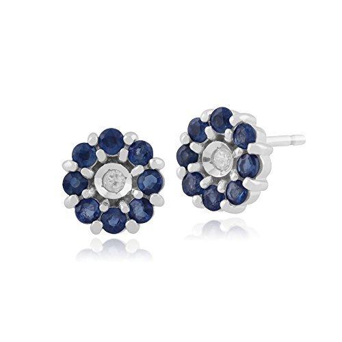 Gemondo Bague Saphir Boucles d'oreilles or blanc 9carats, 0,64carats Saphir et Diamant Boucles d'oreilles clous Motif floral