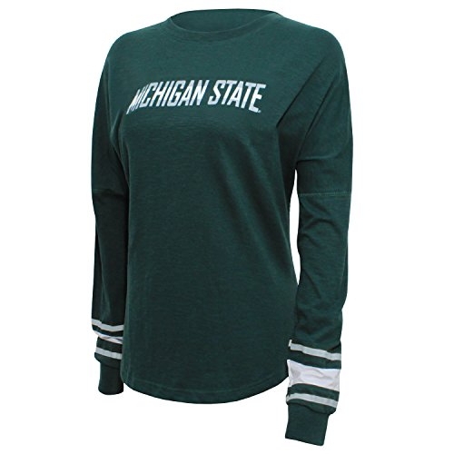 NCAA Michigan State Spartans Women's Campus Specialties Long sleeve Fan Tee, Small, Dark Green (Michigan Striped Shirt)