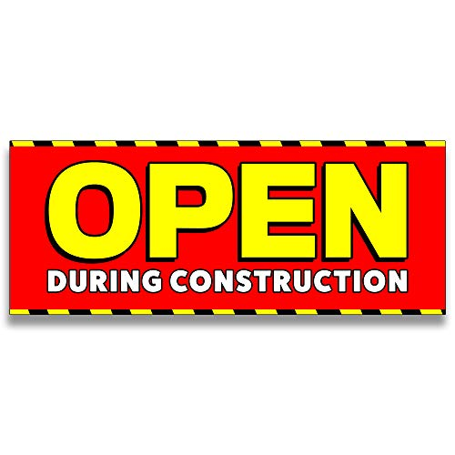 Open During Construction Vinyl Banner 5 Feet Wide by 2 Feet ()