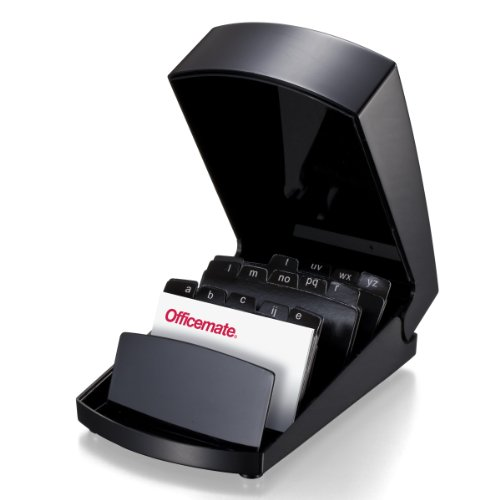 - Officemate 2200 Series Business Card File Holder with Cover, Black (22342)