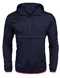 Coofandy Lightweight Packable Waterproof Hooded Raincoat Running Jacket