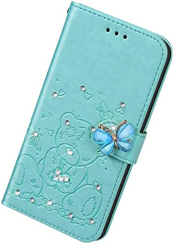 Uposao Kompatibel mit Huawei P30 Hülle Leder Schutzhülle Klapphülle Ledertasche Glitzer Diamant Strass Bling Blumen Bär Muster Flip Case Brieftasche Handyhülle Kartenfächer,Grün