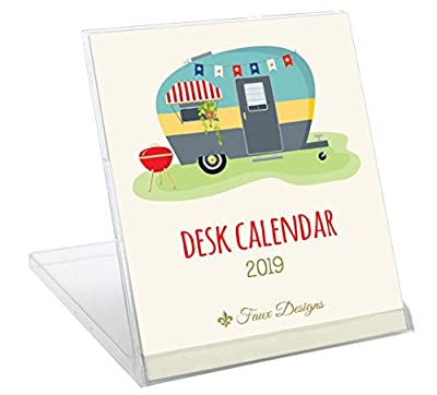 Faux Designs 2019 Foil Embossed Desk Calendar with Convertible Stand: Happy Camper Cover