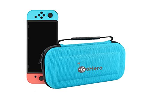 GoHero Nintendo Switch Carrying Case | Portable Hard shell Travel Case Bag for Nintendo Switch Gaming Console (Blue)