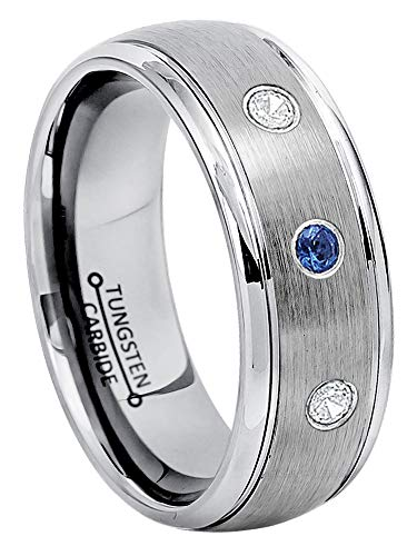 0.21ctw Blue Sapphire & Diamond 3-Stone Anniversary Band - September Birthstone Ring - 8mm Brushed Comfort Fit Dome Tungsten Carbide Ring Tungsten Wedding Ring-10