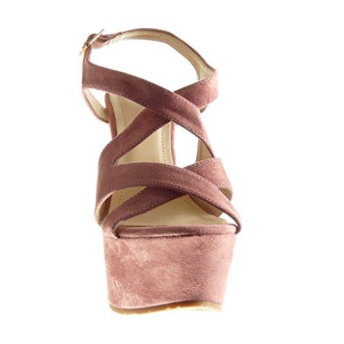 Angkorly - Zapatillas de Moda Sandalias Mules zapatillas de plataforma mujer tanga Talón Plataforma 15 CM - Rosa