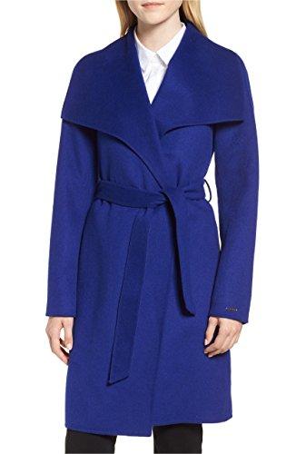 Women's Tahari Ellie Double Face Wool Blend Wrap Coat, Blue (L)