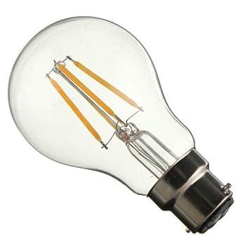 Bombilla LED transparente A60, bombilla LED Edison, bombillas LED tipo globo, bombillas LED de filamento, 4 W, B22 Clear Cool White: Amazon.es: Iluminación