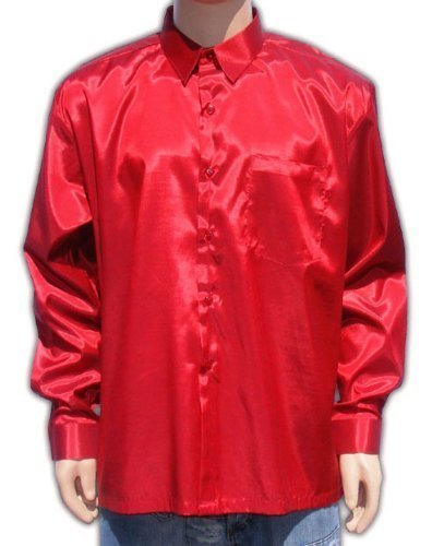Men 39 s thai silk shirt long sleeved sleeves in red size for Mens silk shirts amazon