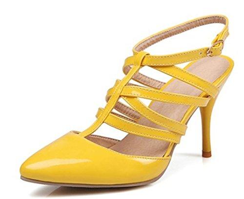 YCMDM donne ad altezze del piede del piede del pattino dei sandali delle donne di grandi dimensioni con la bocca a punta di punta alta , yellow , 35