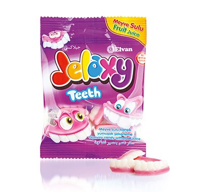 Jelaxy Gummy Candy, No Artificial Colors, Beef Gelatine, 80 g (Teeth, 3 Pack)