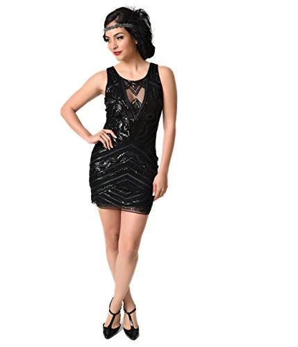 Buy black 1920s style dress - 6