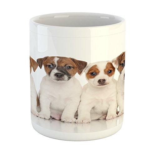 Lunarable Cute Mug, Group of Jack Russell Terrier Puppies Best Friends Domestic Pets Baby Dogs, Printed Ceramic Coffee Mug Water Tea Drinks Cup, Brown White Black