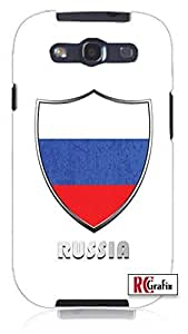Cool Painting Russia Russian National Flag Badge Direct UV Printed Unique Quality Hard Snap On Case for Samsung Galaxy S4 I9500 - White Case