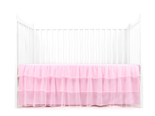 Tadpoles Triple Layer Tulle Crib Skirt, Nursery Crib Bed Skirts for Baby Boys or Girls, Pink