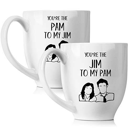 You Are The Pam to My Jim Funny Coffee Mug Set 15oz - Unique Couples Gift For Boyfriend and Girlfriend - His and Hers Anniversary Present Husband and Wife - Engagement Gifts For Him and Her