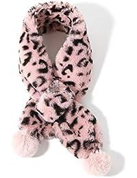 Sonemone Kids Girl Cold Weather Fur Scarf Chic Leopard Neck Wraps Age 3-5YRS
