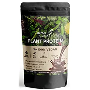 HerbalValley Vegan Protein | Plant Based Protein Powder | Pea Protein and Brown Rice Protein | 1 kg (28 servings…
