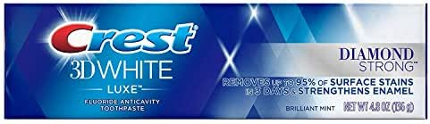 Crest 3D White Luxe Diamond Strong Whitening Toothpaste, Brilliant Mint 4.8 oz (Pack of 2)