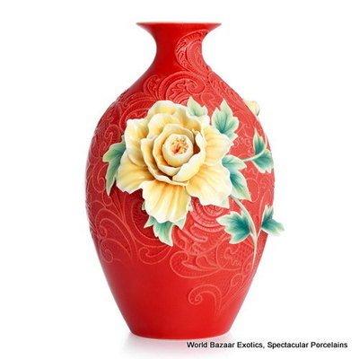 FZ02894 Franz Porcelain Peony on lace large vase Ltd Edition 2000 New 2012