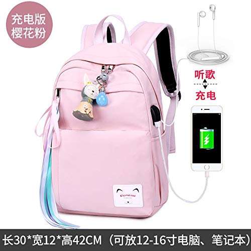 (JEZBSY Waterproof Large Capacity Backpack Junior high School Student high School Bag Female Simple Wild Nylon Backpack (Color : Charging Cherry Powder) )