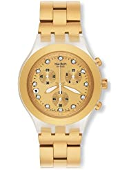 Swatch Mens SVCK4032G Stainless Steel Analog Watch with Gold-Tone Dial