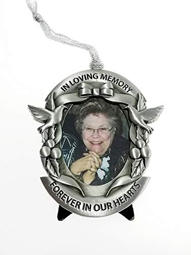 Memorial Christmas Ornament in Gift Box - Remembrance Hanging Photo Ornament with Easel - Bereavement Gift for Loss of Family, Friend or Pet