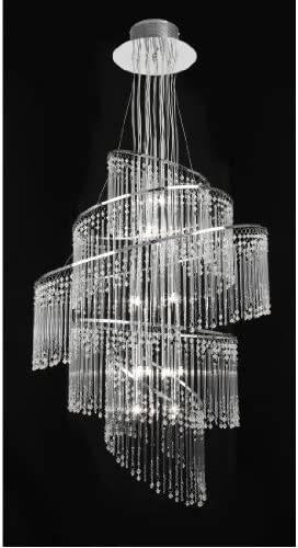 Endon Lighting Camille 24 Light Clear Glass Rod Chandelier Pendant