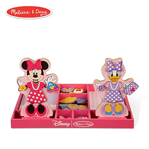 Melissa & Doug Disney Minnie Mouse and Daisy Duck Magnetic Dress-Up Wooden Doll (Pretend Play Set, Interchangeable Pieces, Display Stands, 45+ Pieces) -