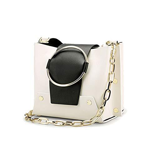 Bolsa Mujer Metal La Contraste Diagonal Gran Wudixiaomeizi Estilo De White Cuero Con Compras Color Hombro Anillo Bolso Capacidad Remache wx8qXfR