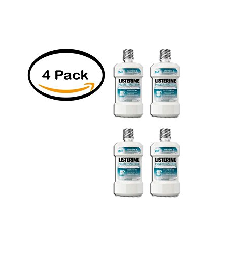 (PACK OF 4 - Listerine Healthy White Restoring Fluoride Rinse For Teeth Whitening, Clean Mint, 32)