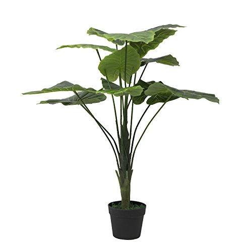 Artificial plant- fake silk palm Potted plant 2ft ,Set of 2 Artificial Taro Tree with Bendable, Adjustable Branches - Decorative Fake Greenery Trees in Pots for Home, Restaurant & Office Decor by RUOPEI