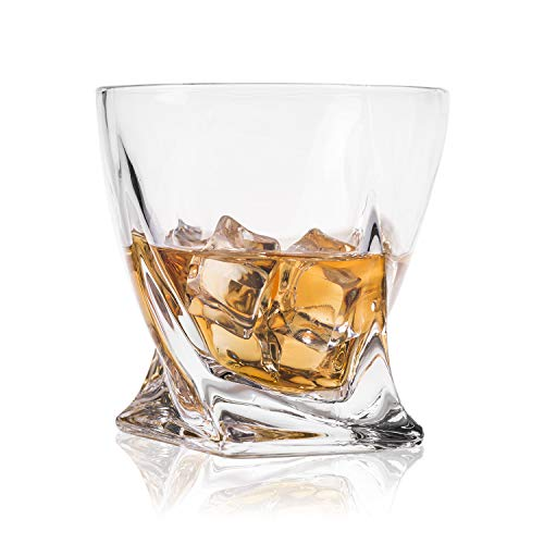 GLASKEY Whisky Glass Set of 4, Lead Free Crystal Old Fashioned Glass, Cocktail Cool Rocks Glass Tumbler for Bourbon, Irish Whisky, Brandy and More, Scotch Glasses (NO.27) ()