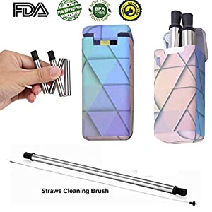 Portable Reusable Drinking Straws ; Collapsible Stainless Steel Straws; Foldable/Retractable Metal Straws with case