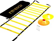 Speed and Agility Workout Ladder Training Equipment Set by F1TNERGY - Yellow 12 Rung Adjustable with Carrying