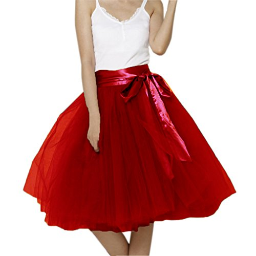 Lisong Women Knee Length Bowknot Layered Tulle Party Prom Skirt 12 US Wine Red -