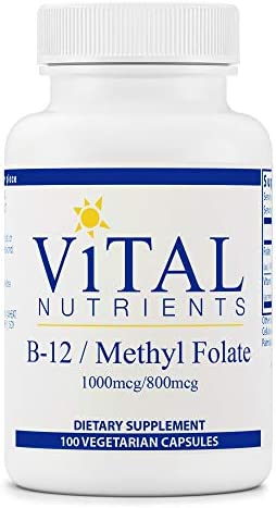 Vital Nutrients - Vitamin B12 / Methyl Folate - Supports Healthy Brain Cell Function - 100 Capsules according to Bottle