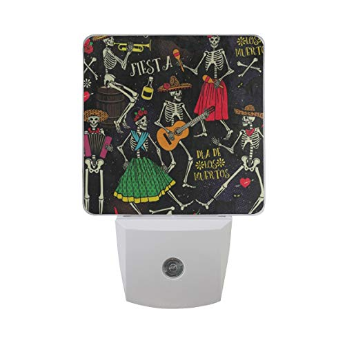 LED Night Light Sugar Skull Rose Music Guitar Auto Senor Dusk to Dawn Night Light Decorative Plug in for Kids Baby Girls Boys Adults Room Set of 2
