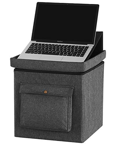 YOUDENOVA 15 inches Storage Ottoman Cube with Laptop iPad Stand, Folding Footrest Stool Toy Boxes, Foam Padded Seat for Dorm Support 350lbs, Linen Fabric Grey (Cube Footstool Storage)
