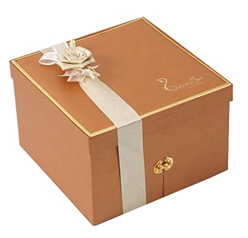 Square Three-Tier Gift Box Multiple Storage Grid Fabric Rose Accessories for Holiday Birthday Party ()