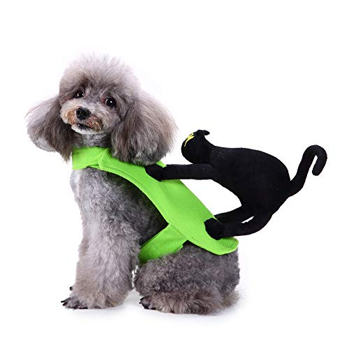 Amakunft Dog Party Costume, Black Cat Pet Festival Dress Clothing for Halloween & Christmas Day Outfit Hoodie Interesting -
