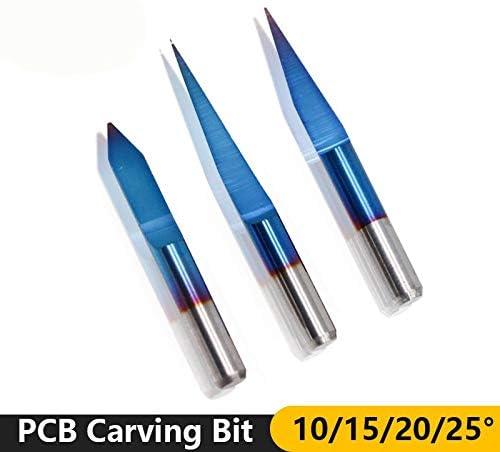 NO LOGO HWW-DIAOKEZT, 10pcs 10/15/20/25 Grad Wolframkarbid PCB Gravieren Bit 3,175 mm Schaft Nano Blau Beschichtete Fräser Werkzeuge (Size : 10PCS degree25X0.2mm)