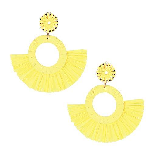 (Yellow Raffia Tassel Earrings Fringe Statement Drop Earrings Boho Dangle Geometric Round Earrings for Women Girl Gift Jewelry )