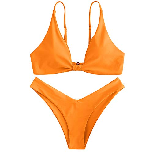 (ZAFUL Women's Tie Knot Front Spaghetti Strap High Cut Bikini Set Swimsuit (Orange, S))
