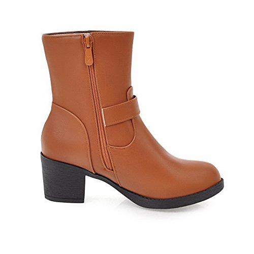 VogueZone009 Damen Rein Blend-Materialien Rund Zehe Reißverschluss Stiefel, Braun, 33