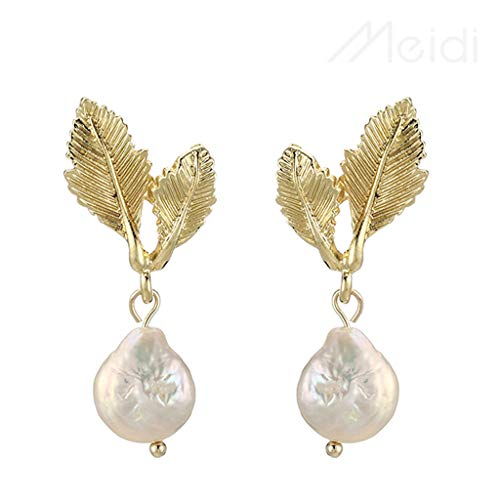 Dangle Shell Earring Gold Flower Leaf Shell Pendant Earring Long Dangle Earring Hook for Women E5396 Series Elegant Birthday Gift (C)