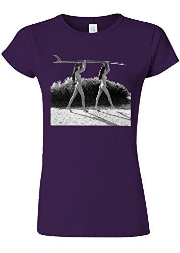 胚夢中バケットSurf Ladies Summer Holiday Novelty Purple Women T Shirt Top-S